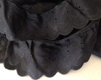 Black Cotton Cambric Lace - 75mm