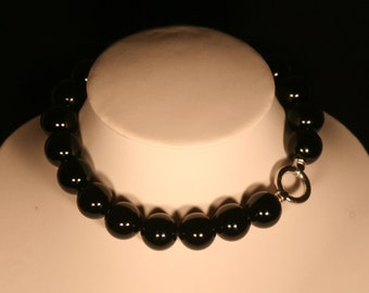 Agate black and silver necklace solid 925