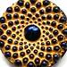 Atomic Czech glass button, Midnight Blue & Yellow, 1 inch 27mm.