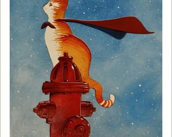 Heroic cat watching San Francisco