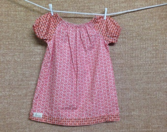 Orange Floral Girls Peasant Dress - Size 1-2 yr.