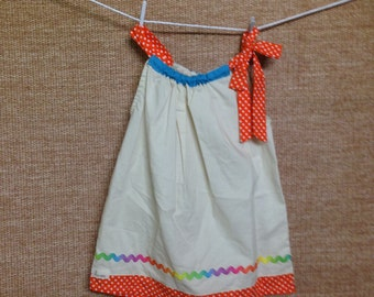 Orange Spotty Pillow case dress - Girls size 5-6 years.