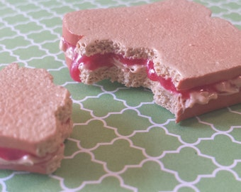 Peanut Butter and Strawberry or Grape Jelly PB and J Sandwich Two Piece Magnet Set