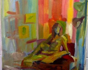 "Oil on Canvas Impressionist Figure Painting ""Naked Woman"""