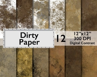 Dirty Paper Digital Paper * Commercial Use * scrapbooking background, images, invitations, arts and craft muddy stains splotches DP107