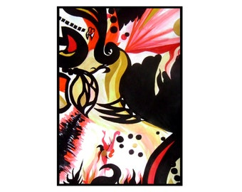 A3 Abstract Painting Modern Art Red Black White Gold Acrylic Rock n' Roll by Caerys Walsh
