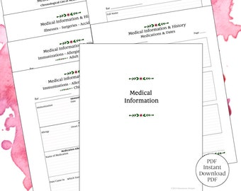 Family Records-Medical Records-Organizer-printable-digital-8 1/2 x 11-StatementsDesigns-INSTANT Download-1 PDF