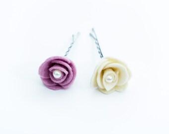 Felt flower hair pins  Hair Accessories or bridal hair pins Flower girl Wedding accessories