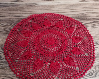 Crochet doily, Home decor, crochet table topper, red handmade doily, wedding decor, crochet centerpiece, round doily, wedding table decor