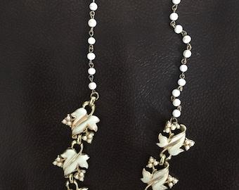 Vintage CORO Enameled Leaf Necklace Beautiful!