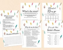 Feather, Tribal Bridal Shower Game Pack Printables, Bird Feathers, Colorful, wedding shower Game printable pack BS60