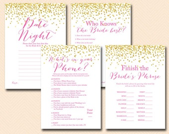 Hot pink bridal shower games, Gold Confetti Bridal Shower, Hot Pink, bachelorette games, pink Wedding Shower Games BS63