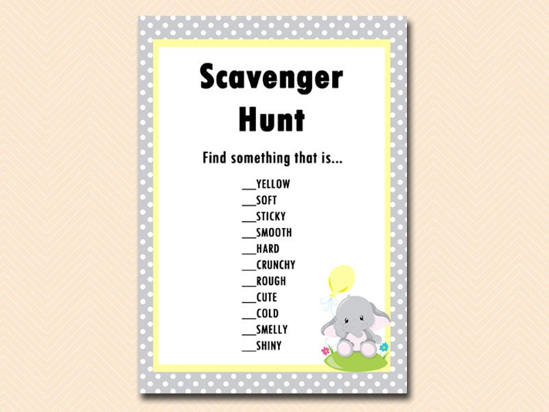 scavenger hunt elephant theme kid 39 s birthday party game