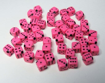 Pink Dice Beads. Acrylic. Pack of 50