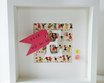 Belle & Boo Personalised Wooden letter Initial Frame, with Patterned Papers and Printed Tag, Christening, Birthday, Gift, Baby, Girl, Unique