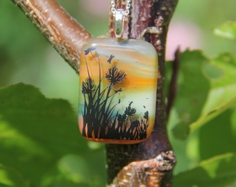 Twilight sky glass pendant, glass necklace
