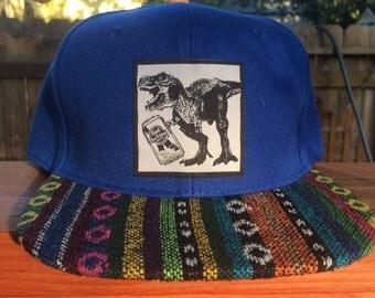 Bold Blue Aztec PBR Drinkin' Dino Snapback
