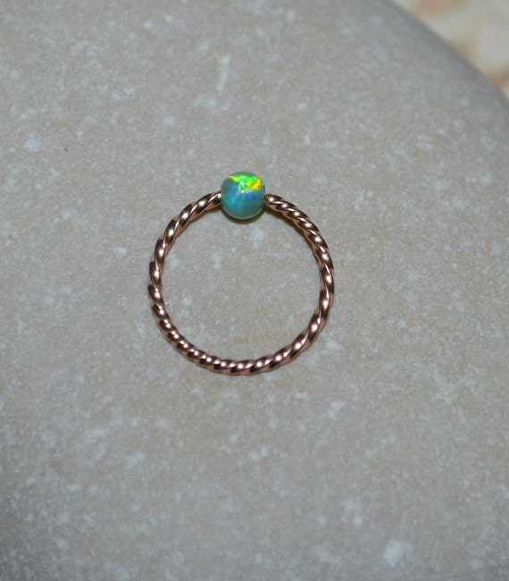 opal nose ring gold captive bead ring forward helix