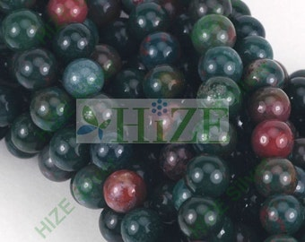 "HIZE GBJ02 Natural Green Bloodstone Round Beads 6mm (15 3/4"")"