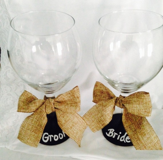 Wedding Bride & Groom Glass Set Gift Rustic CHALKBOARD Customizable