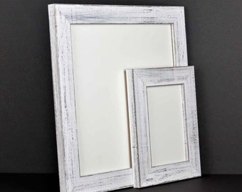 White Picture Frame - Rustic Reclaimed Distressed Barn Wood Style - All Wood - Choose your size - Custom Sizes Available