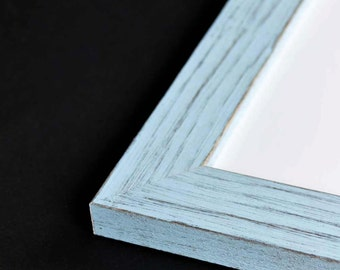 LARGE Baby Blue Picture Frame - Rustic Reclaimed Distressed Barn Wood Style - All Wood - Choose your size - Custom Sizes Available