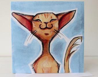 Balinese Happy Cat - Blank Greetings Card