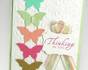 22-Custom Butterfly Thinking of You Card, Personalize Your Greeting, Card with Hand-Dyed Ribbon & Pearls, Pastel Colored Handmade Card