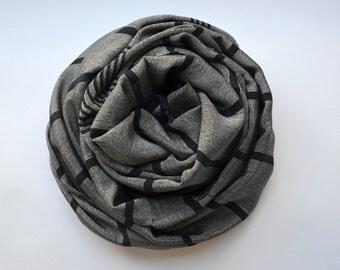 SILK BAMBOO PESHTEMAL  - turkish towel/handmade towel/body towel/yoga towel/ gray black stripes/spa pool beach shawl/ scarf 010