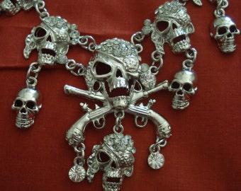 Pirate Skull Silver Rhinestone Necklace