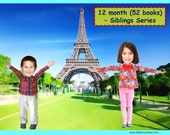 52x Personalized Children's Books with Photo- 12 mth (52 titles) set of personalized kids eBooks for Siblings (2-3 kids) with their photos.