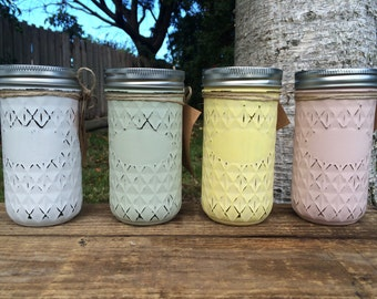 Pastel Distressed Mason Jar