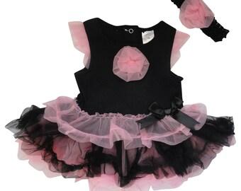 Pink and Black Tutu Onsie
