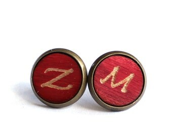 Tiny Stud Earrings, Wood Earrings, Deep Red Earrings, Initial Earrings