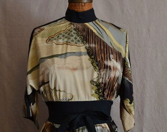 Vintage Japanese print long dress