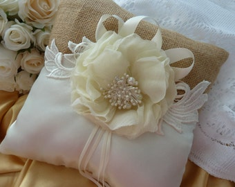 WEDDING RING PILLOW burlap ivory satin, lace and ribbon page boy ring bearer