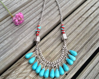 Boho Coral and Turquoise Statement Necklace / Boho Style / Boho Necklace / Statement Necklace