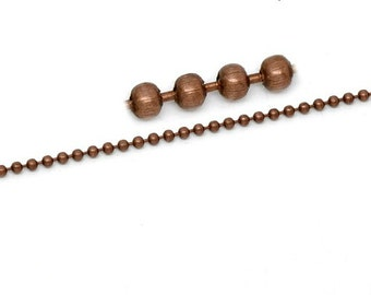 2mm Antiqued Copper Ball Chain with Connectors | CH1020