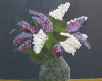 Lilac bouquet, oil painting, oil painting, oil on canvas, 50 x 70 cm, unframed, multiple layers, long drying time realistically painted,