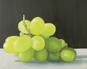 Grapes bright, oil painting, oil painting, realistic oil on canvas, 40 x 40 cm, unframed, multiple layers, long drying time painted,