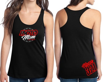 Moto Mom Racerback Tank Top Just Ride Motocross MX ATV Quad Racing Chain Sprocket
