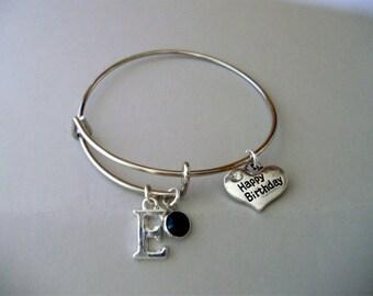 Girls Happy Birthday Charm / Swarovski Birthstone Crystal Drop Bangle /Adjustable / Silver Heart - Gift For Her Under Twenty HB1