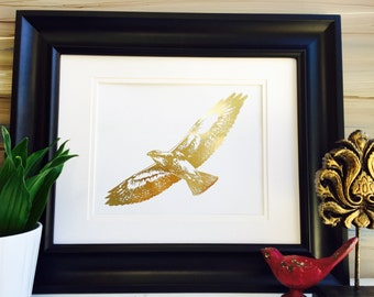 Hawk Print, Gold Foil Print, Bird Print, Flying Birds, Hawks, hawk wings, gold bird, eagle Art print