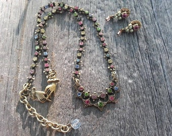 Signed highly collectible retro Mary DeMarco necklace and earring set from her La Contessa Collection..
