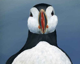 Puffin Painting, Acrylics Art Print, Original art Print Sea and Bird related art,  Archival Inks and Matted, available in 5x7, 8x10, 11x14