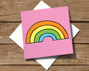 10 pack of blank colourful cards featuring hand-drawn rainbow - could be used as party invitations
