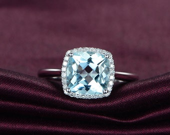 Aquamarine Cushion Halo Ring, Aquamarine Diamond Engagement Ring,14K White Gold Wedding Ring, Promise Ring