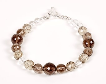 Tawny - bracelet of smokey quartz, rock crystal and sterling silver