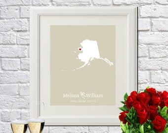 Alaska State Art Gift Map Art, Wedding Anniversary Gift, Engagement Couple Gift Alaska Map Print State Map Gift, Any STATE