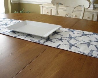 Table Runner / Cloth Runner / Table Linens/Modern Runner/Starfish Table Runner/Navy White Starfish Runner/Coastal Linens /Made To Order